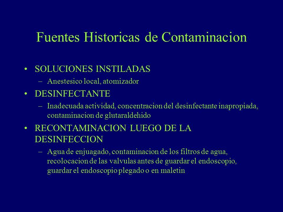Fuentes Historicas de Contaminacion SOLUCIONES INSTILADAS –Anestesico local, atomizador DESINFECTANTE –Inadecuada actividad, concentracion del desinfe