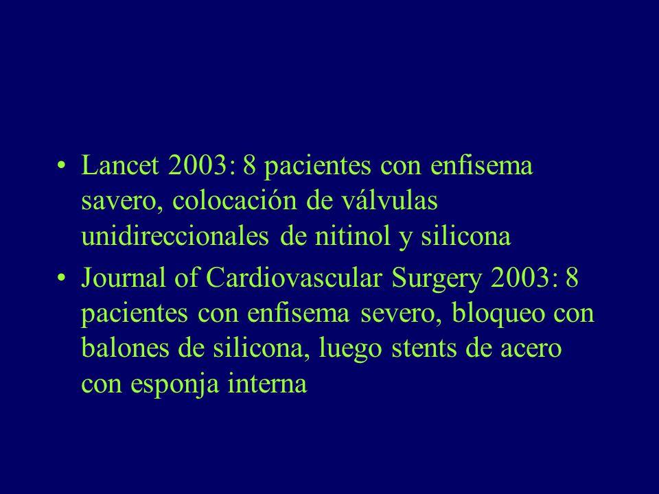 Lancet 2003: 8 pacientes con enfisema savero, colocación de válvulas unidireccionales de nitinol y silicona Journal of Cardiovascular Surgery 2003: 8