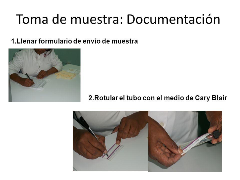 Toma de muestra: Documentación 1.Llenar formulario de envío de muestra 2.Rotular el tubo con el medio de Cary Blair