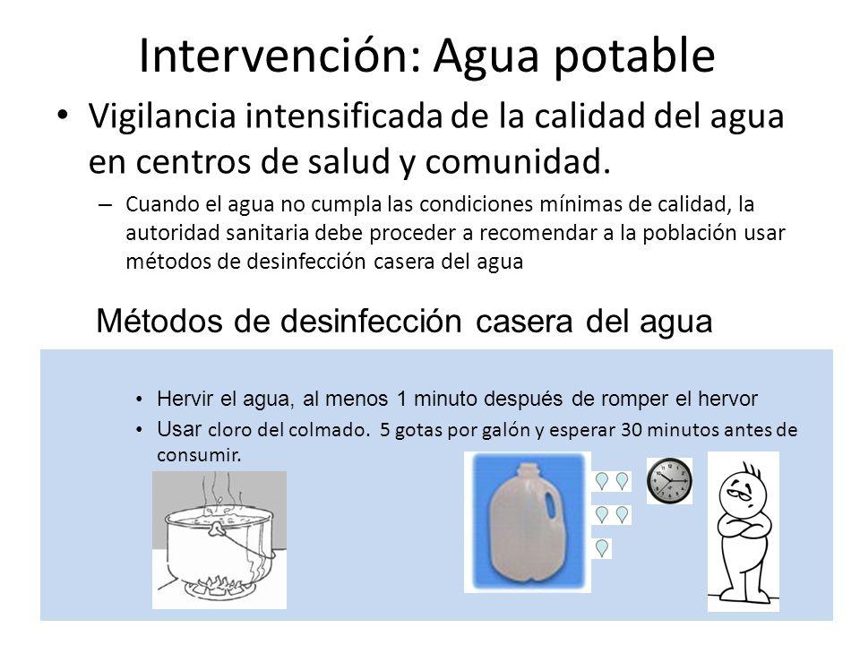 Intervención: Agua potable Vigilancia intensificada de la calidad del agua en centros de salud y comunidad. – Cuando el agua no cumpla las condiciones