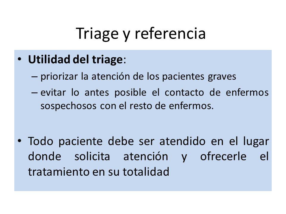 Triage y referencia Utilidad del triage: – priorizar la atención de los pacientes graves – evitar lo antes posible el contacto de enfermos sospechosos con el resto de enfermos.