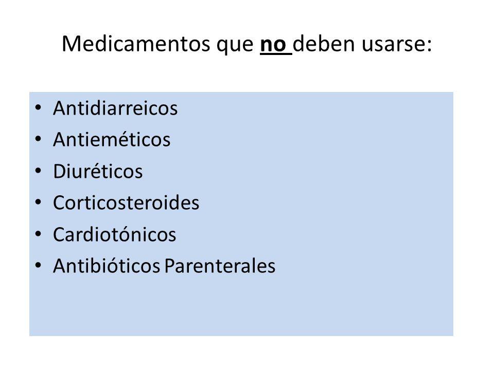 Antidiarreicos Antieméticos Diuréticos Corticosteroides Cardiotónicos Antibióticos Parenterales Medicamentos que no deben usarse:
