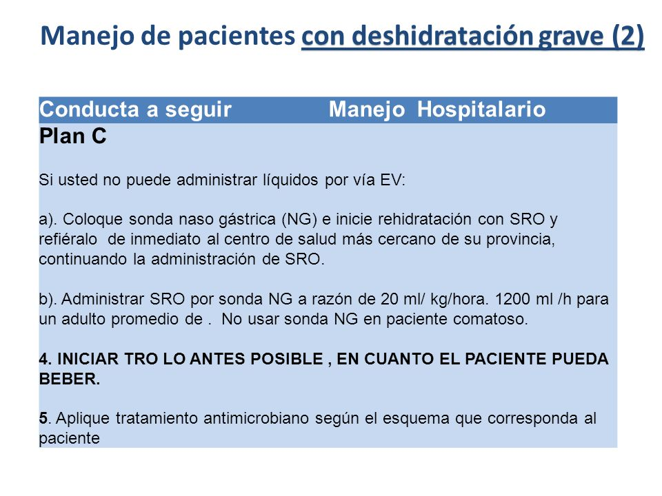 Conducta a seguir Manejo Hospitalario Plan C Si usted no puede administrar líquidos por vía EV: a). Coloque sonda naso gástrica (NG) e inicie rehidrat