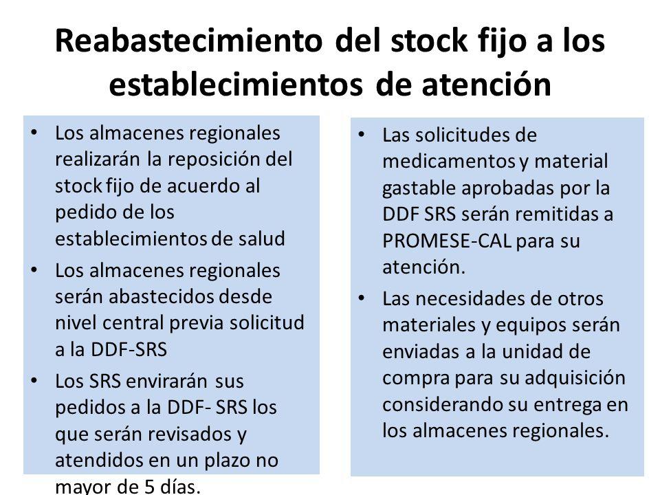 Reabastecimiento del stock fijo a los establecimientos de atención Los almacenes regionales realizarán la reposición del stock fijo de acuerdo al pedi