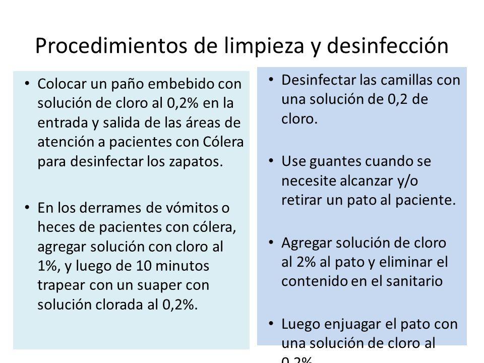 Procedimientos de limpieza y desinfección Colocar un paño embebido con solución de cloro al 0,2% en la entrada y salida de las áreas de atención a pacientes con Cólera para desinfectar los zapatos.