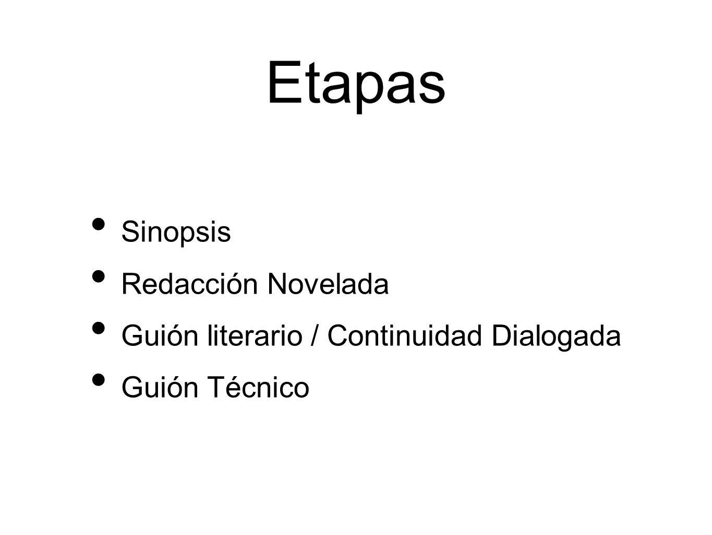 Etapas Sinopsis Redacción Novelada Guión literario / Continuidad Dialogada Guión Técnico