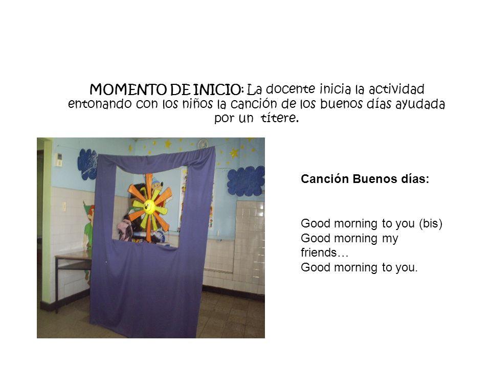 MOMENTO DE INICIO: La docente inicia la actividad entonando con los niños la canción de los buenos días ayudada por un títere. Canción Buenos días: Go
