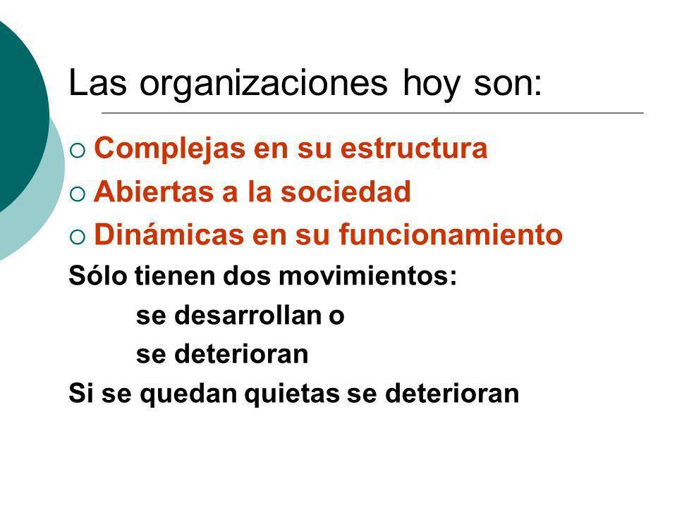 Las organizaciones hoy son: Complejas en su estructura Abiertas a la sociedad Dinámicas en su funcionamiento Sólo tienen dos movimientos: se desarroll