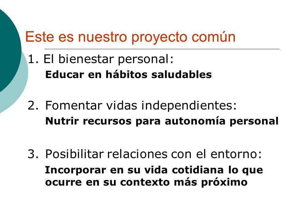 Este es nuestro proyecto común 1. El bienestar personal: Educar en hábitos saludables 2.Fomentar vidas independientes: Nutrir recursos para autonomía