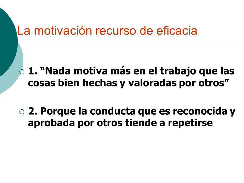 La motivación recurso de eficacia 1. Nada motiva más en el trabajo que las cosas bien hechas y valoradas por otros 2. Porque la conducta que es recono