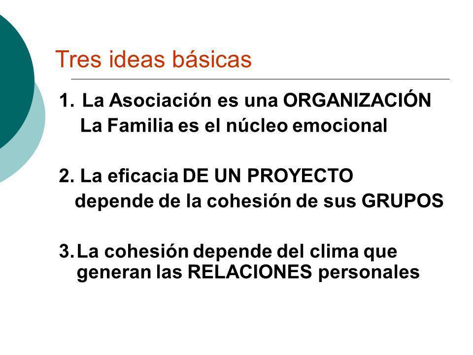 Tres ideas básicas 1. La Asociación es una ORGANIZACIÓN La Familia es el núcleo emocional 2. La eficacia DE UN PROYECTO depende de la cohesión de sus