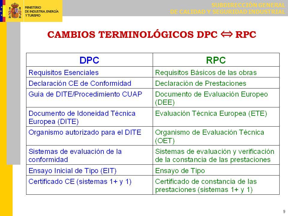 SUBDIRECCIÓN GENERAL DE CALIDAD Y SEGURIDAD INDUSTRIAL 9 CAMBIOS TERMINOLÓGICOS DPC RPC