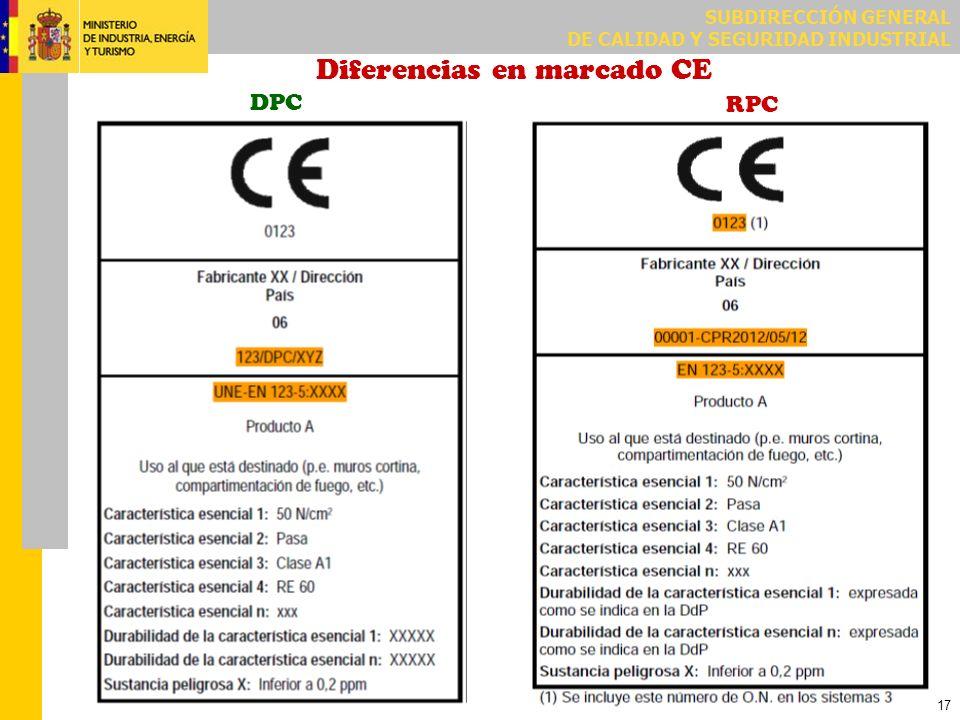 SUBDIRECCIÓN GENERAL DE CALIDAD Y SEGURIDAD INDUSTRIAL 17 Diferencias en marcado CE DPC RPC