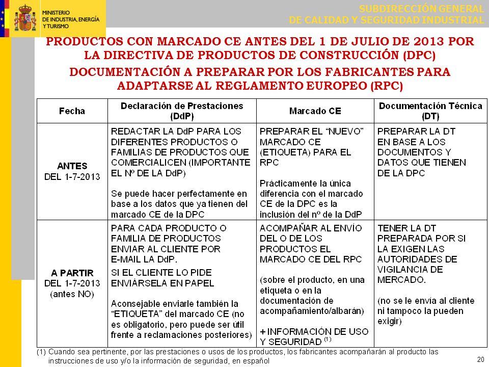 SUBDIRECCIÓN GENERAL DE CALIDAD Y SEGURIDAD INDUSTRIAL 20 PRODUCTOS CON MARCADO CE ANTES DEL 1 DE JULIO DE 2013 POR LA DIRECTIVA DE PRODUCTOS DE CONST