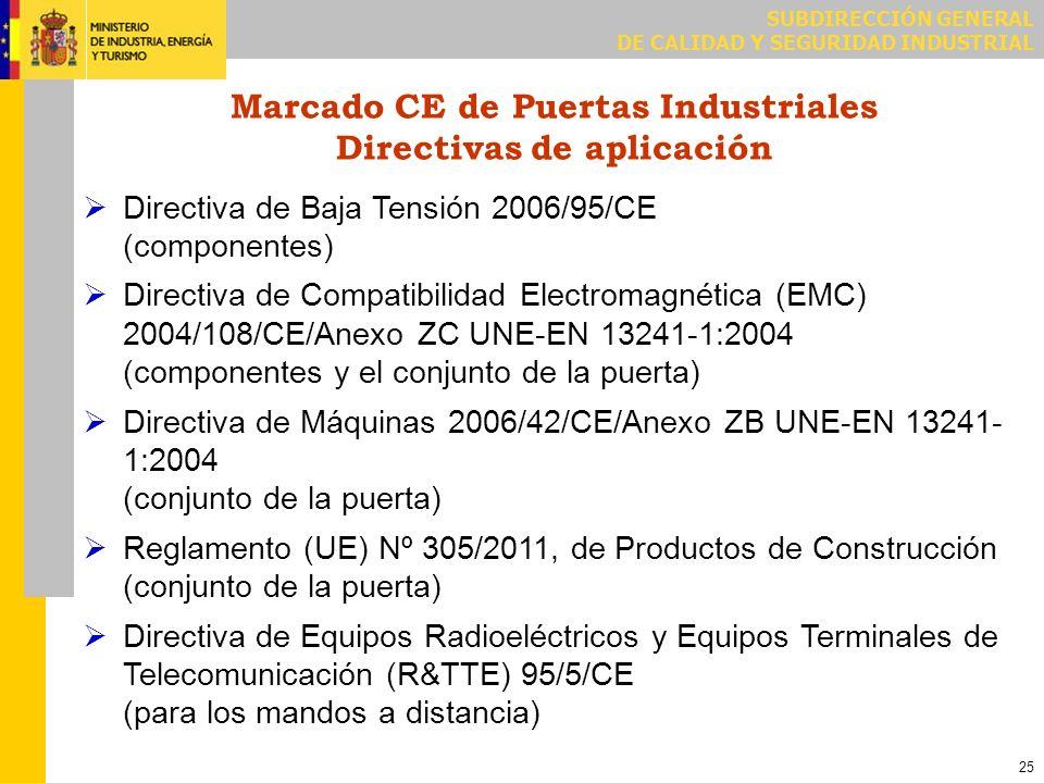 SUBDIRECCIÓN GENERAL DE CALIDAD Y SEGURIDAD INDUSTRIAL 25 Marcado CE de Puertas Industriales Directivas de aplicación Directiva de Baja Tensión 2006/9
