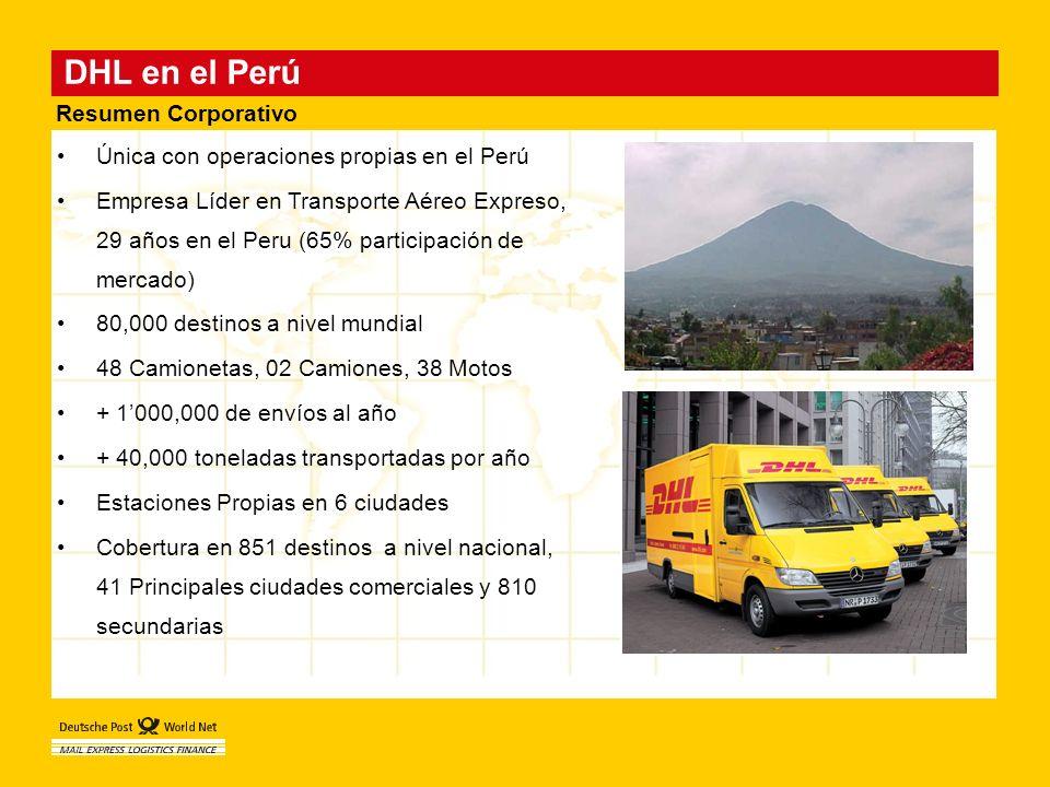 DHL en el Perú Única con operaciones propias en el Perú Empresa Líder en Transporte Aéreo Expreso, 29 años en el Peru (65% participación de mercado) 8
