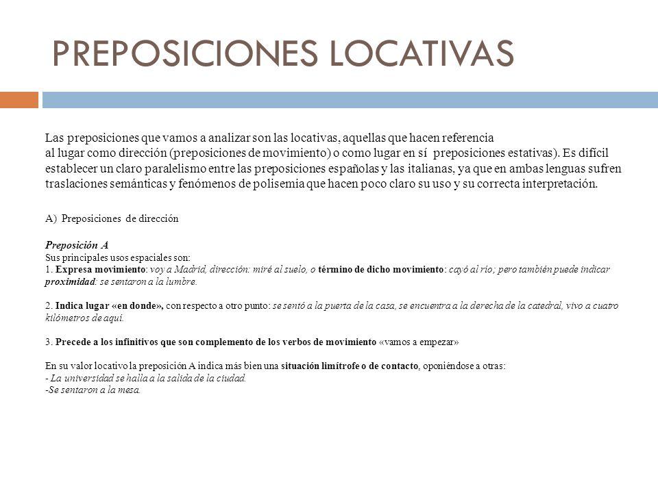 PREPOSICIONES LOCATIVAS Las preposiciones que vamos a analizar son las locativas, aquellas que hacen referencia al lugar como dirección (preposiciones