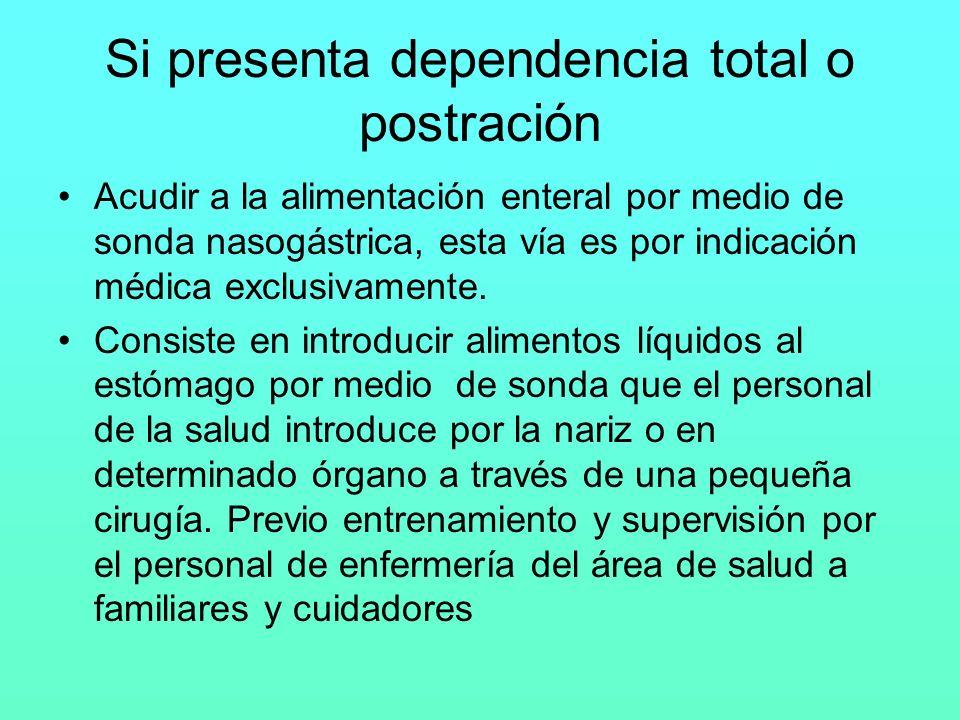Si presenta dependencia total o postración Acudir a la alimentación enteral por medio de sonda nasogástrica, esta vía es por indicación médica exclusi