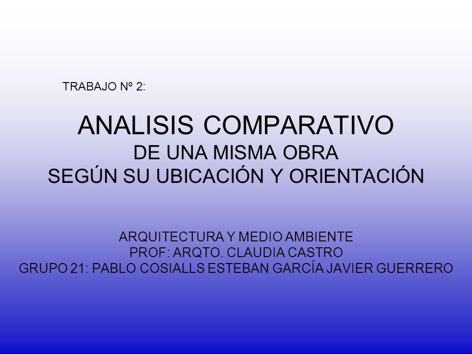 ANALISIS COMPARATIVO DE UNA MISMA OBRA SEGÚN SU UBICACIÓN Y ORIENTACIÓN ARQUITECTURA Y MEDIO AMBIENTE PROF: ARQTO. CLAUDIA CASTRO GRUPO 21: PABLO COSI