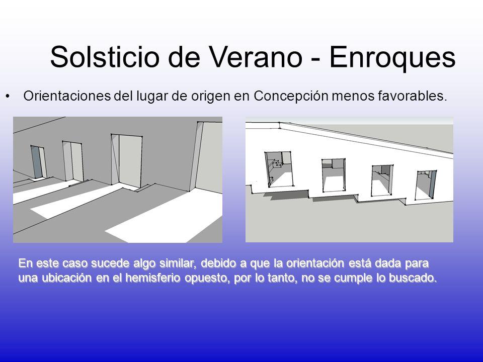 Orientaciones del lugar de origen en Concepción menos favorables. Solsticio de Verano - Enroques En este caso sucede algo similar, debido a que la ori
