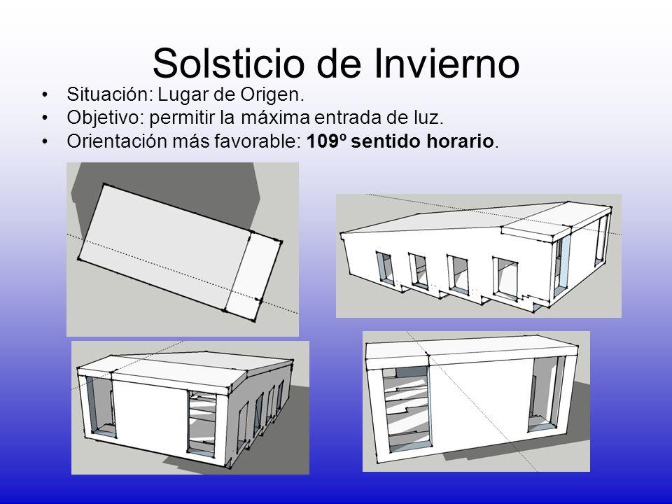 Solsticio de Invierno Situación: Lugar de Origen. Objetivo: permitir la máxima entrada de luz. Orientación más favorable: 109º sentido horario.