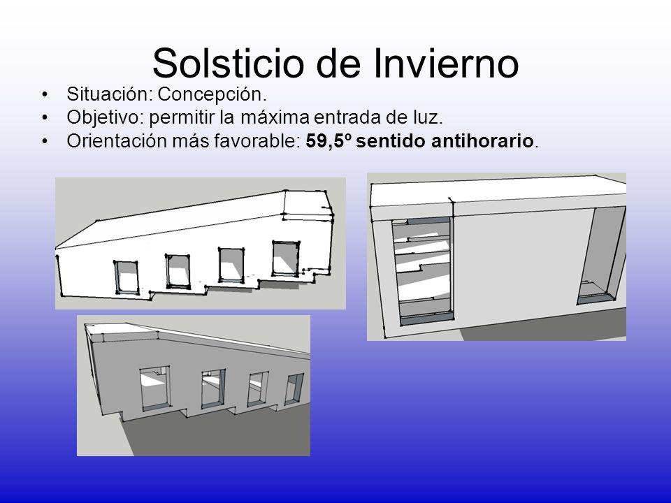 Solsticio de Invierno Situación: Concepción. Objetivo: permitir la máxima entrada de luz. Orientación más favorable: 59,5º sentido antihorario.
