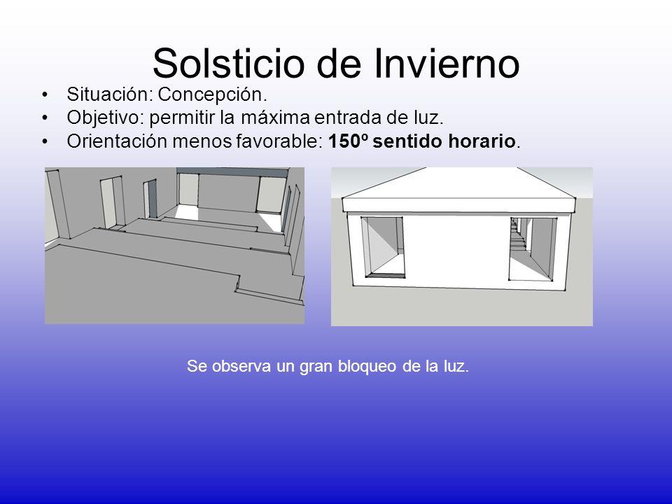 Situación: Concepción. Objetivo: permitir la máxima entrada de luz. Orientación menos favorable: 150º sentido horario. Solsticio de Invierno Se observ