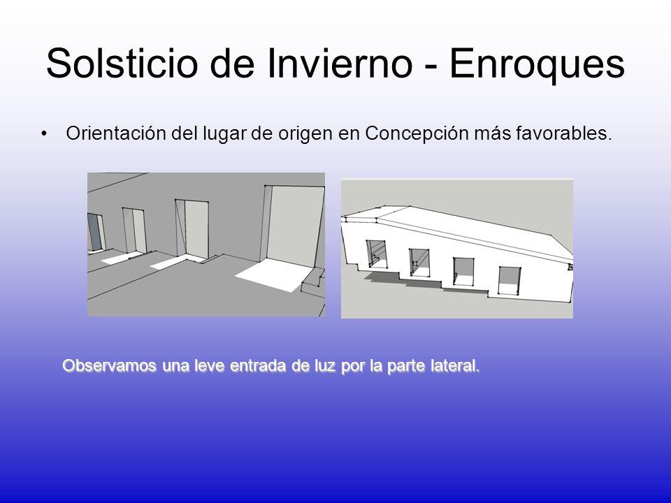 Solsticio de Invierno - Enroques Orientación del lugar de origen en Concepción más favorables. Observamos una leve entrada de luz por la parte lateral