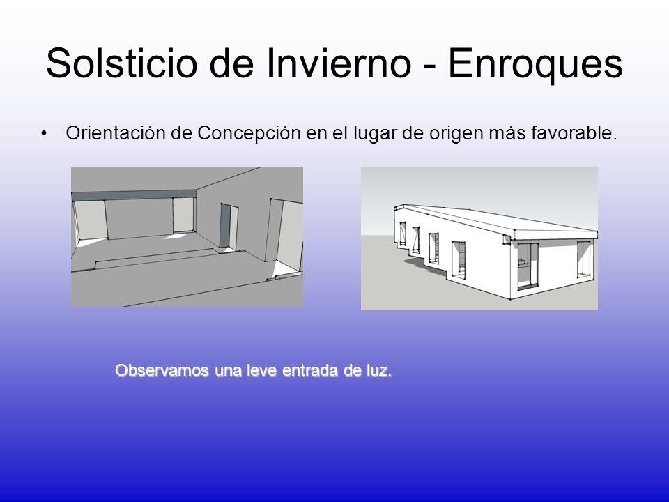 Orientación de Concepción en el lugar de origen más favorable. Solsticio de Invierno - Enroques Observamos una leve entrada de luz.