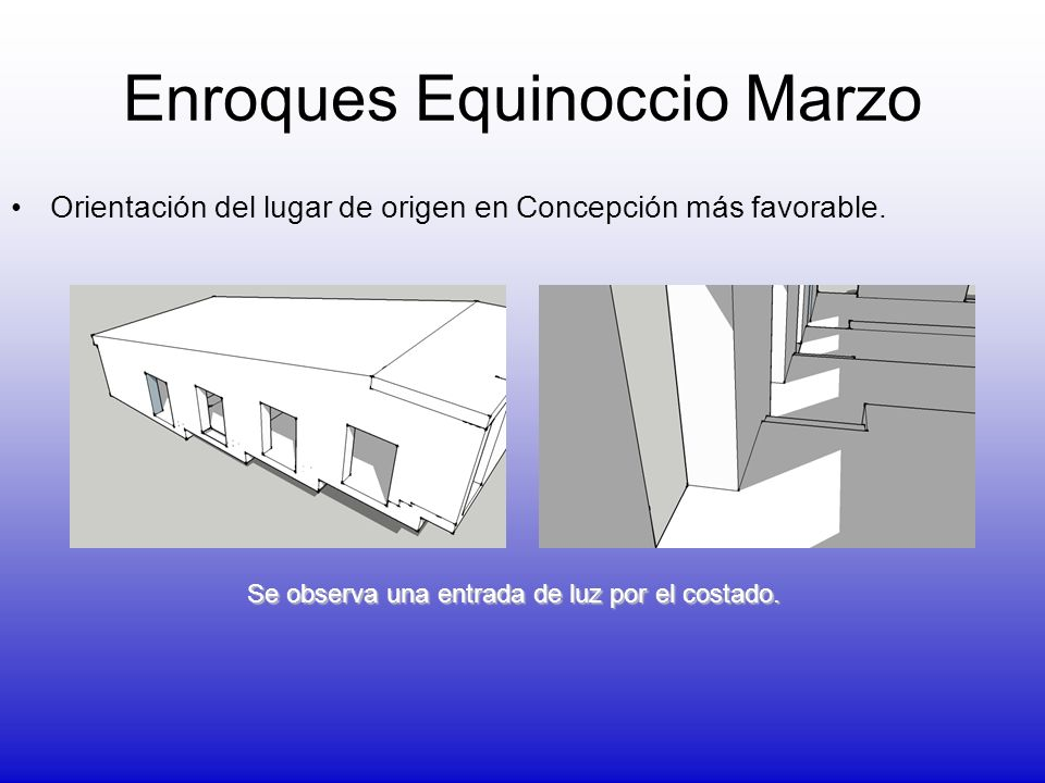 Enroques Equinoccio Marzo Orientación del lugar de origen en Concepción más favorable. Se observa una entrada de luz por el costado.