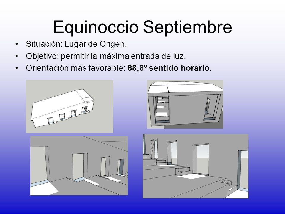 Equinoccio Septiembre Situación: Lugar de Origen. Objetivo: permitir la máxima entrada de luz. Orientación más favorable: 68,8º sentido horario.