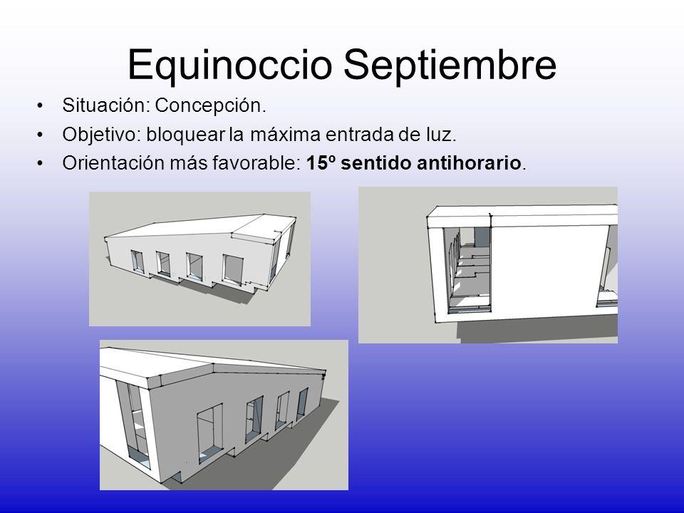 Equinoccio Septiembre Situación: Concepción. Objetivo: bloquear la máxima entrada de luz. Orientación más favorable: 15º sentido antihorario.