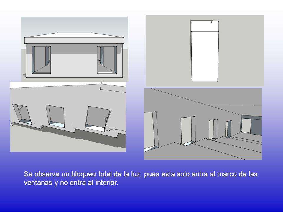 Se observa un bloqueo total de la luz, pues esta solo entra al marco de las ventanas y no entra al interior.