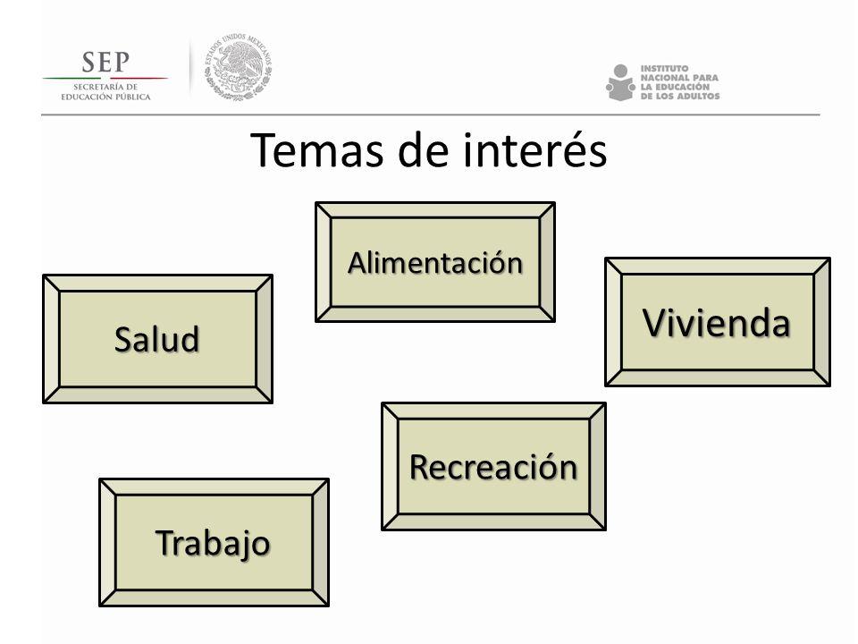 Temas de interés Alimentación Trabajo Vivienda Recreación Salud