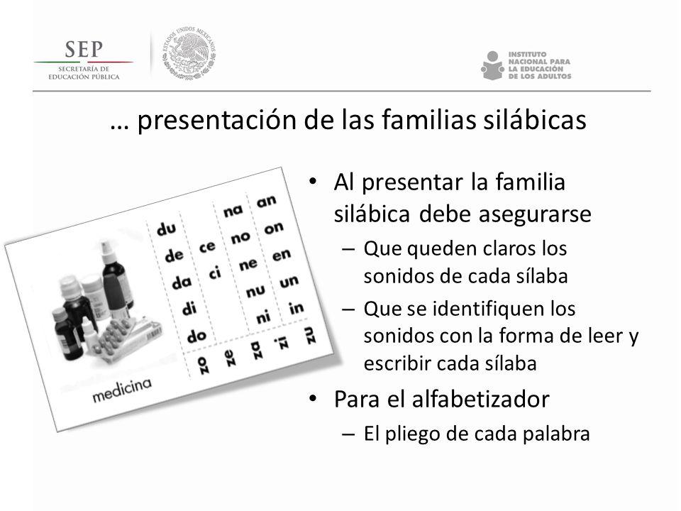 … presentación de las familias silábicas Al presentar la familia silábica debe asegurarse – Que queden claros los sonidos de cada sílaba – Que se iden