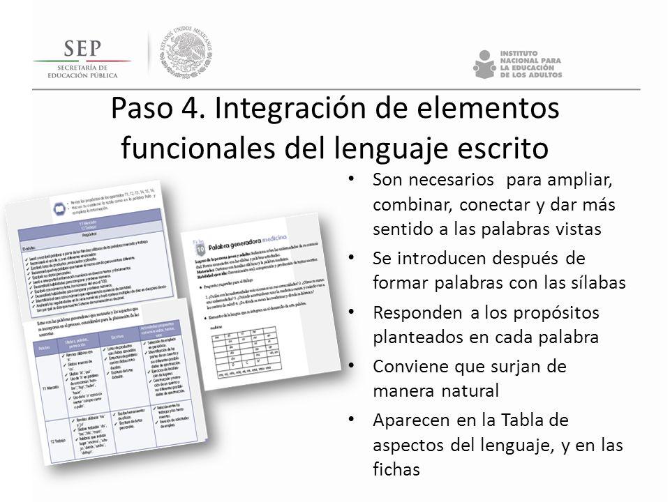 Paso 4. Integración de elementos funcionales del lenguaje escrito Son necesarios para ampliar, combinar, conectar y dar más sentido a las palabras vis
