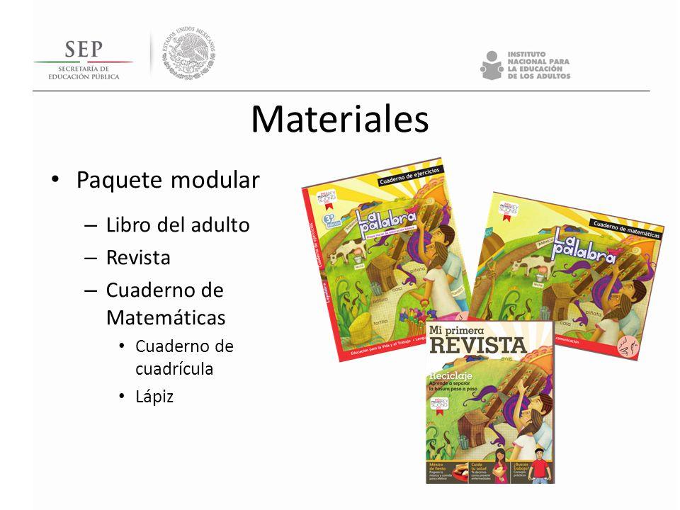 Materiales Paquete modular – Libro del adulto – Revista – Cuaderno de Matemáticas Cuaderno de cuadrícula Lápiz