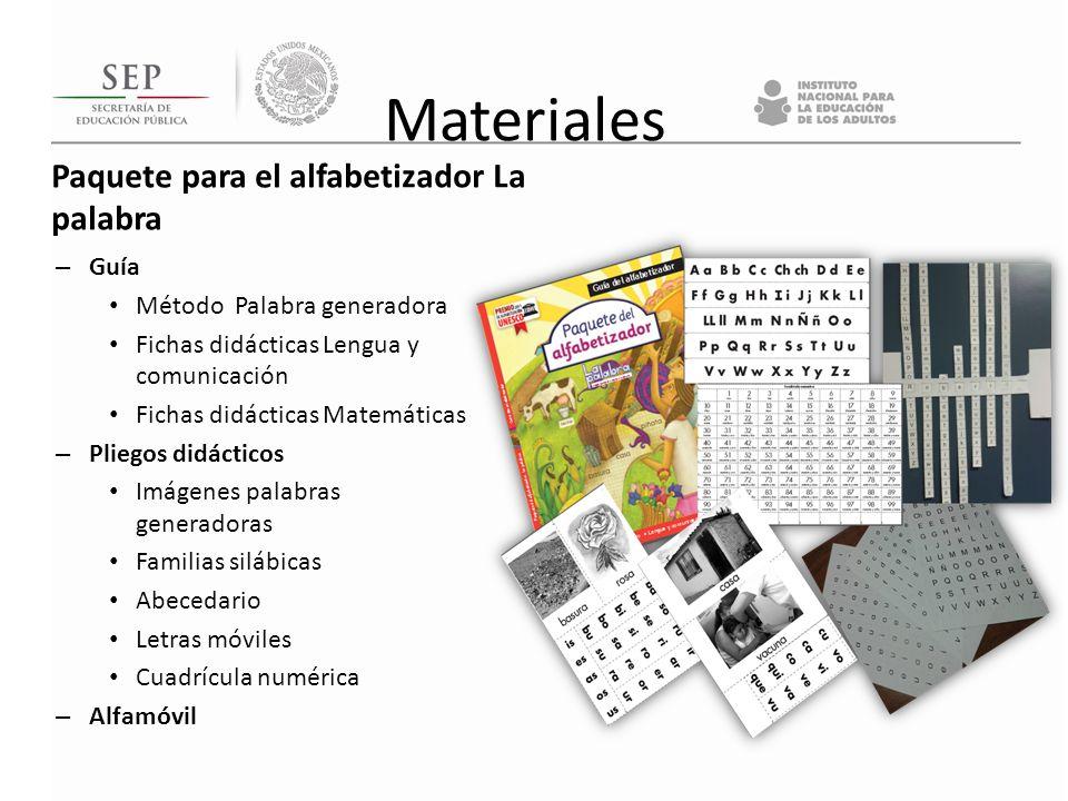 Materiales Paquete para el alfabetizador La palabra – Guía Método Palabra generadora Fichas didácticas Lengua y comunicación Fichas didácticas Matemát
