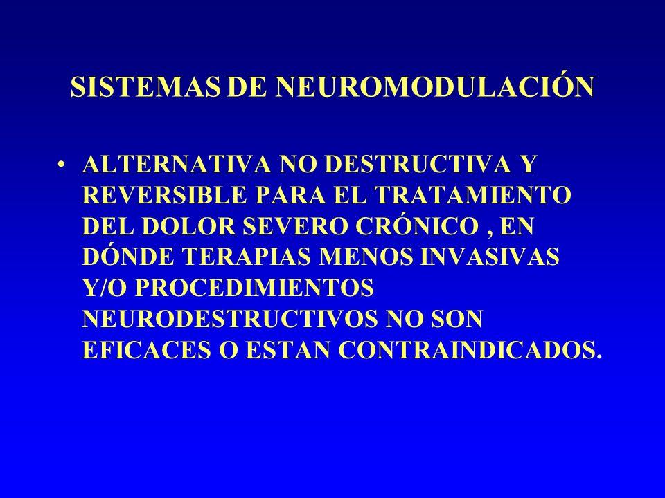 SISTEMAS DE NEUROMODULACIÓN ALTERNATIVA NO DESTRUCTIVA Y REVERSIBLE PARA EL TRATAMIENTO DEL DOLOR SEVERO CRÓNICO, EN DÓNDE TERAPIAS MENOS INVASIVAS Y/O PROCEDIMIENTOS NEURODESTRUCTIVOS NO SON EFICACES O ESTAN CONTRAINDICADOS.
