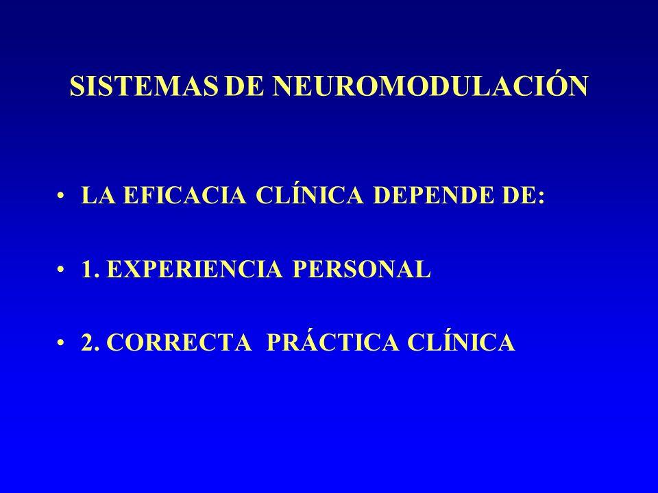 SISTEMAS DE NEUROMODULACIÓN LA EFICACIA CLÍNICA DEPENDE DE: 1.