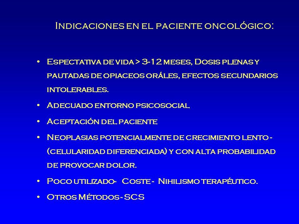 Indicaciones en el paciente oncológico: Espectativa de vida > 3-12 meses, Dosis plenas y pautadas de opiaceos oráles, efectos secundarios intolerables.