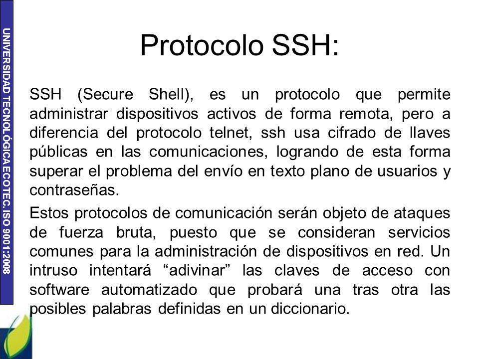 UNIVERSIDAD TECNOLÓGICA ECOTEC. ISO 9001:2008 Protocolo SSH: SSH (Secure Shell), es un protocolo que permite administrar dispositivos activos de forma