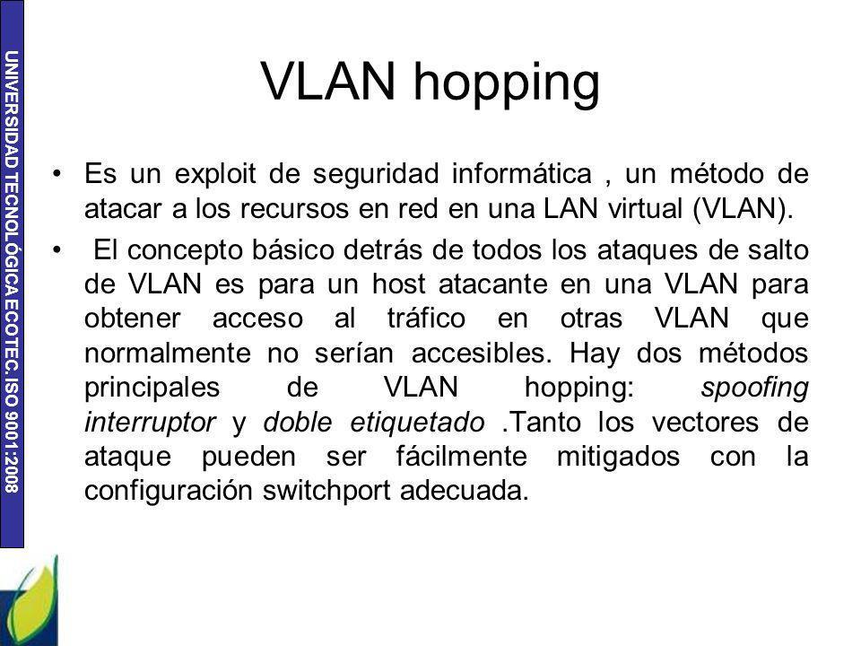 UNIVERSIDAD TECNOLÓGICA ECOTEC. ISO 9001:2008 VLAN hopping Es un exploit de seguridad informática, un método de atacar a los recursos en red en una LA