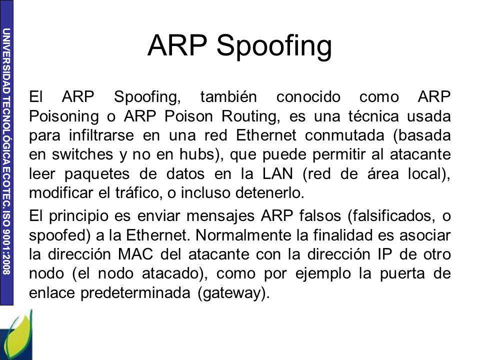 UNIVERSIDAD TECNOLÓGICA ECOTEC. ISO 9001:2008 ARP Spoofing El ARP Spoofing, también conocido como ARP Poisoning o ARP Poison Routing, es una técnica u