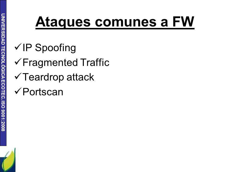 UNIVERSIDAD TECNOLÓGICA ECOTEC. ISO 9001:2008 Ataques comunes a FW IP Spoofing Fragmented Traffic Teardrop attack Portscan