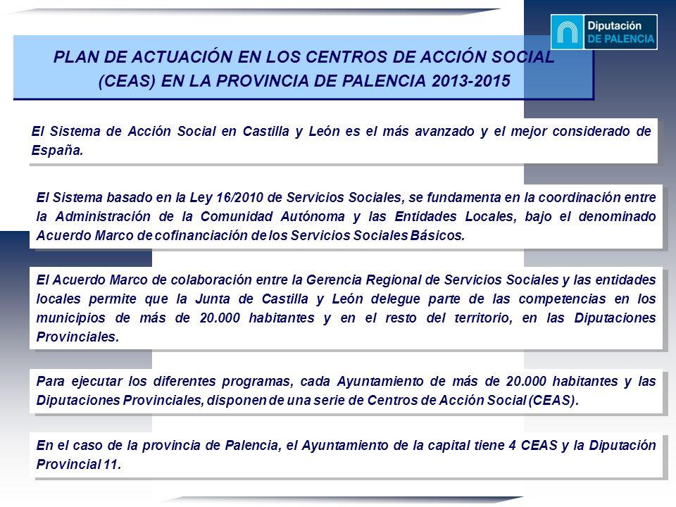 PLAN DE ACTUACIÓN EN LOS CENTROS DE ACCIÓN SOCIAL (CEAS) EN LA PROVINCIA DE PALENCIA 2013-2015 El Sistema de Acción Social en Castilla y León es el má