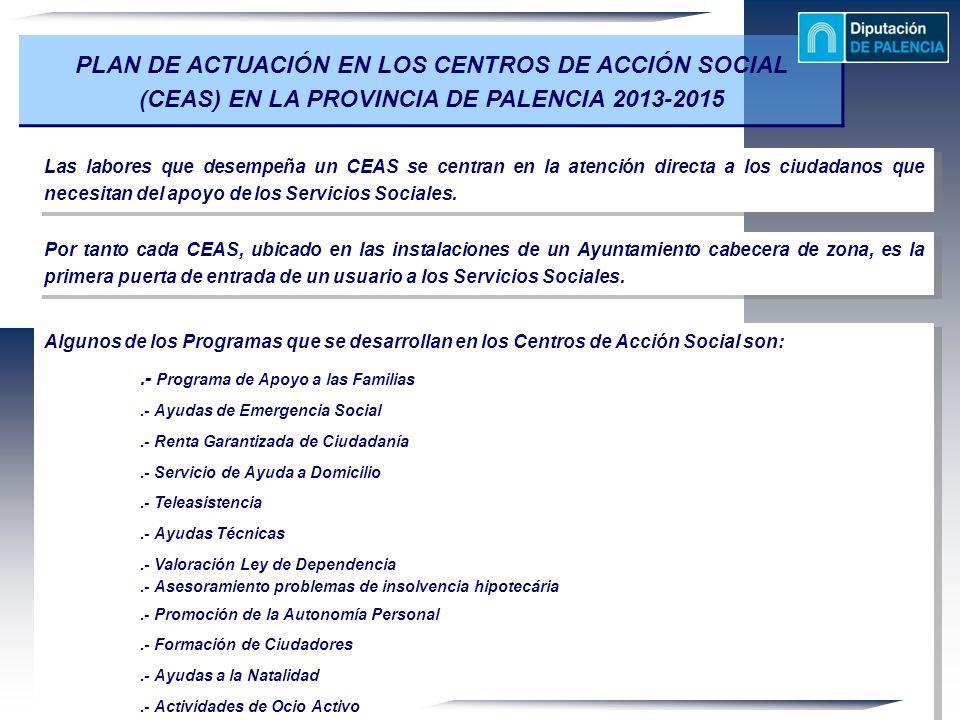 PLAN DE ACTUACIÓN EN LOS CENTROS DE ACCIÓN SOCIAL (CEAS) EN LA PROVINCIA DE PALENCIA 2013-2015 Las labores que desempeña un CEAS se centran en la aten