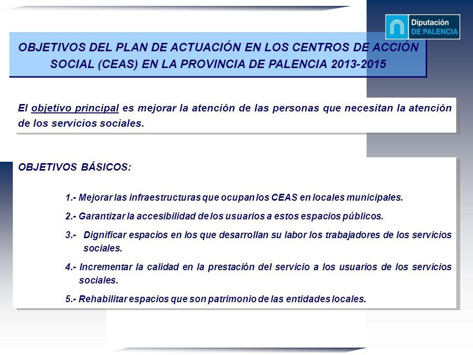 OBJETIVOS DEL PLAN DE ACTUACIÓN EN LOS CENTROS DE ACCIÓN SOCIAL (CEAS) EN LA PROVINCIA DE PALENCIA 2013-2015 El objetivo principal es mejorar la atenc
