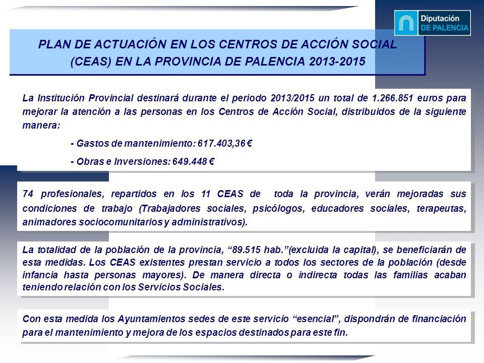 PLAN DE ACTUACIÓN EN LOS CENTROS DE ACCIÓN SOCIAL (CEAS) EN LA PROVINCIA DE PALENCIA 2013-2015 La Institución Provincial destinará durante el periodo