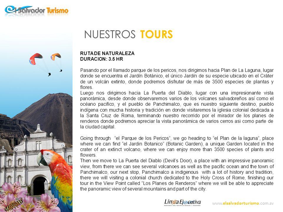 www.elsalvadorturismo.com.sv NUESTROS TOURS PANCHIMALCO DURACION: 4 HR Nos dirigiremos hacia el Pueblo colonial Panchimalco sitio protegido por la UNESCO, a los pies de la formación rocosa conocida como la Puerta del diablo.
